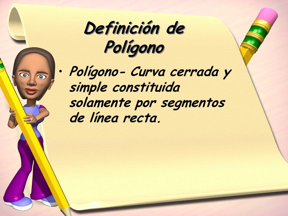 Definición de Polígono Polígono- Curva cerrada y simple constituida solamente por segmentos de línea recta.