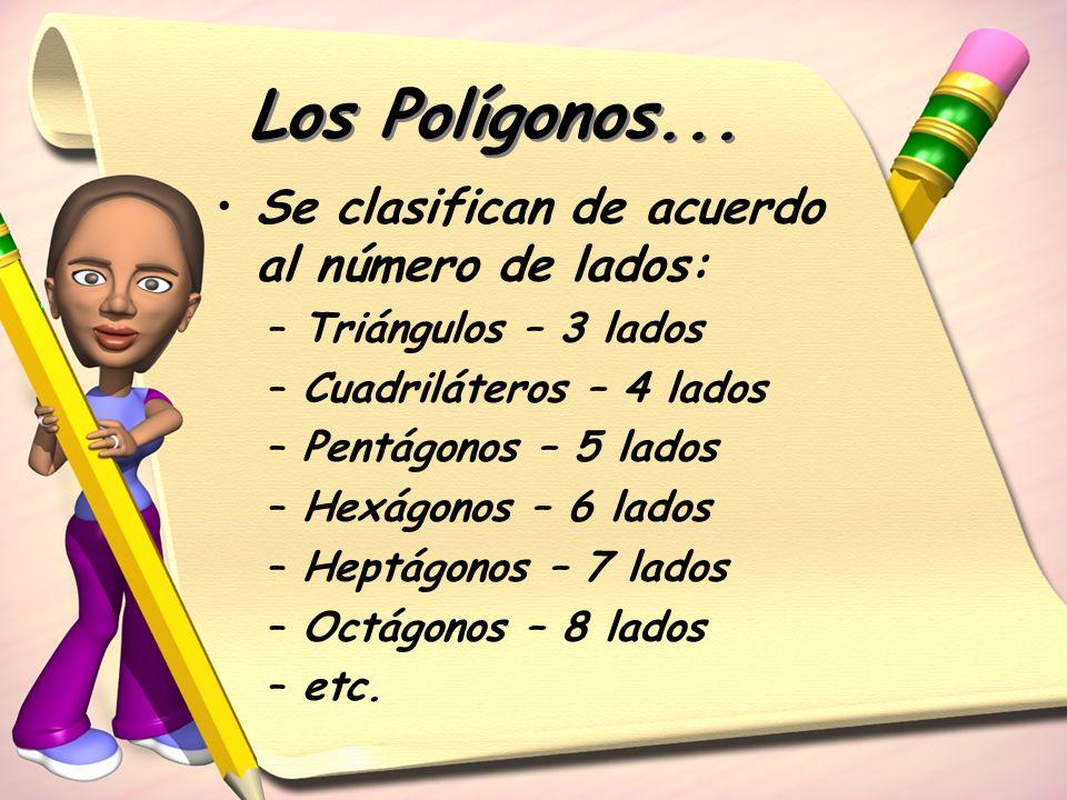 Los Polígonos... Se clasifican de acuerdo al número de lados: –Triángulos – 3 lados –Cuadriláteros – 4 lados –Pentágonos – 5 lados –Hexágonos – 6 lado