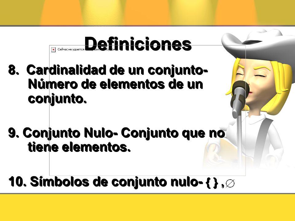 Definiciones 8. Cardinalidad de un conjunto- Número de elementos de un conjunto. 9. Conjunto Nulo- Conjunto que no tiene elementos. 10. Símbolos de co