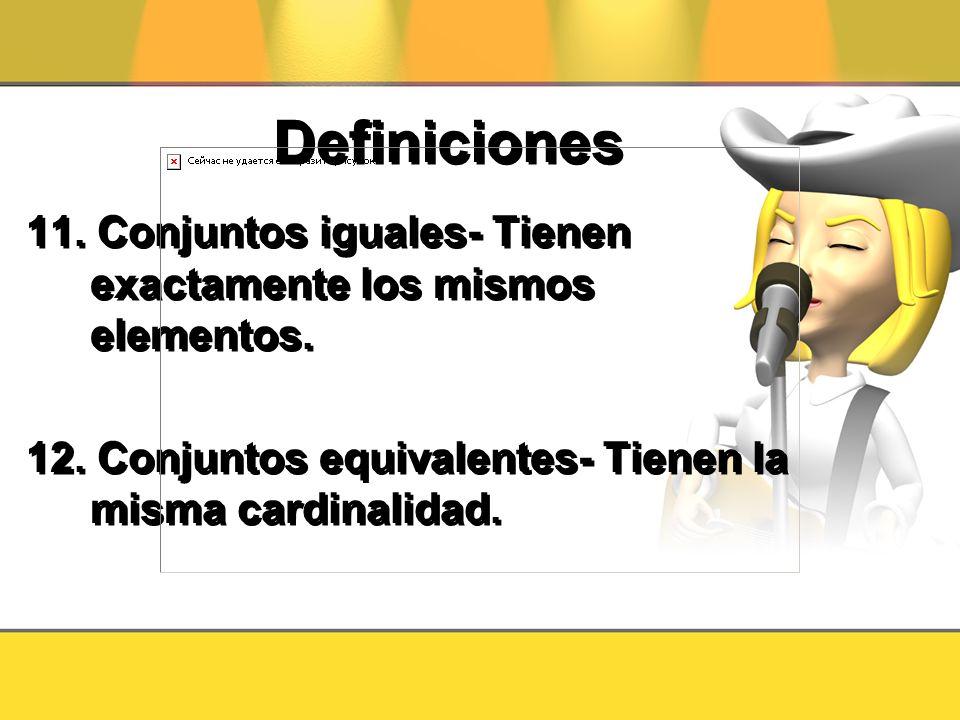 Definiciones 11. Conjuntos iguales- Tienen exactamente los mismos elementos. 12. Conjuntos equivalentes- Tienen la misma cardinalidad. 11. Conjuntos i
