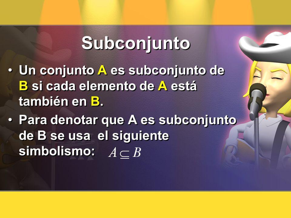 Subconjunto Un conjunto A es subconjunto de B si cada elemento de A está también en B. Para denotar que A es subconjunto de B se usa el siguiente simb