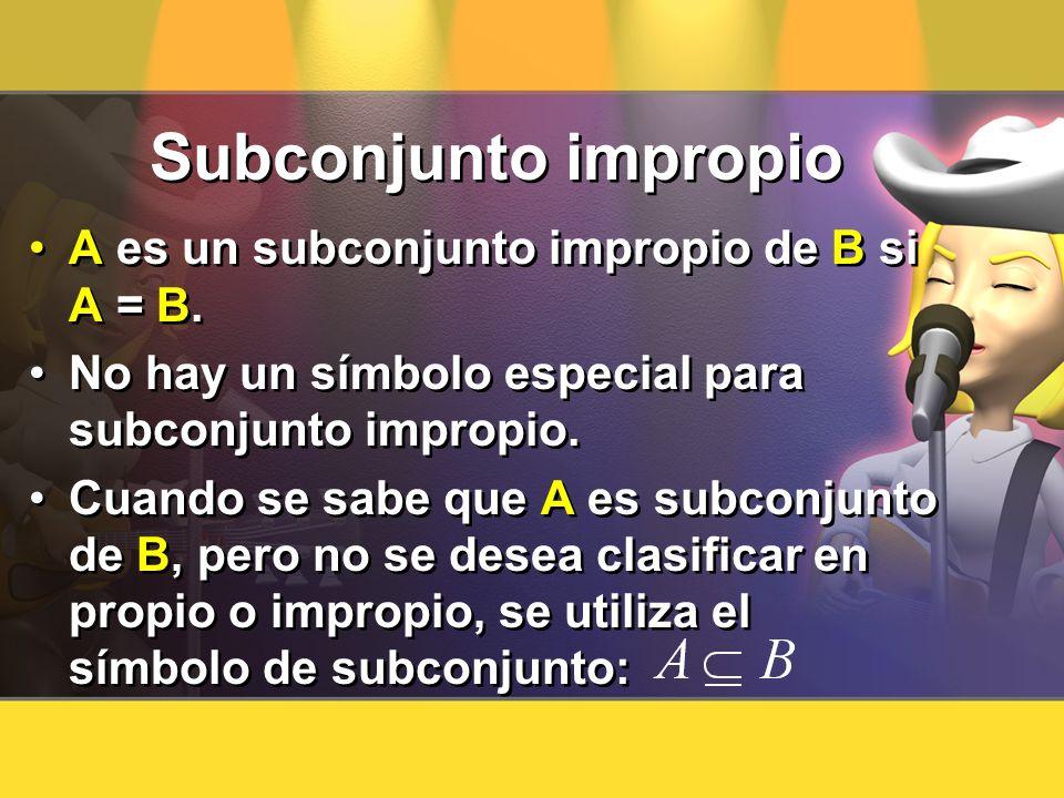 Subconjunto impropio A es un subconjunto impropio de B si A = B. No hay un símbolo especial para subconjunto impropio. Cuando se sabe que A es subconj