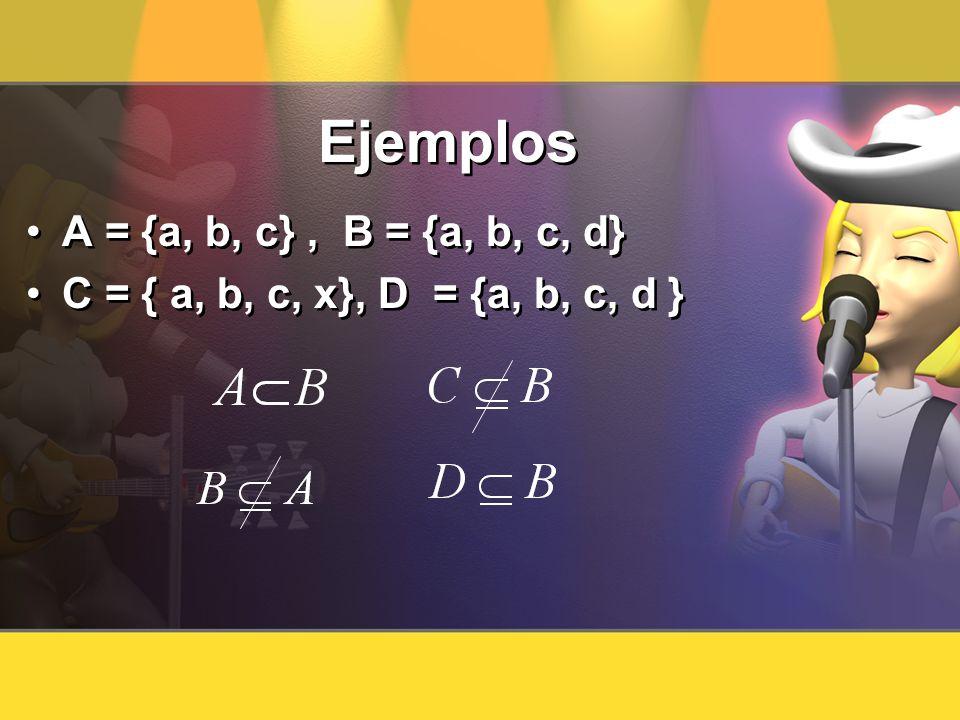 Ejemplos A = {a, b, c}, B = {a, b, c, d} C = { a, b, c, x}, D = {a, b, c, d } A = {a, b, c}, B = {a, b, c, d} C = { a, b, c, x}, D = {a, b, c, d }