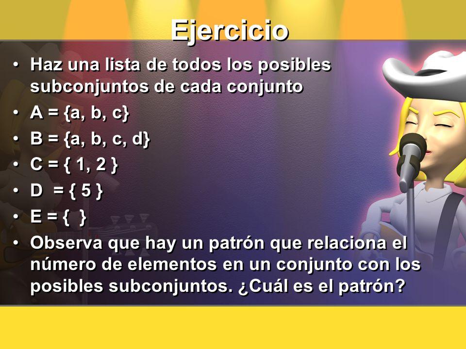 Ejercicio Haz una lista de todos los posibles subconjuntos de cada conjunto A = {a, b, c} B = {a, b, c, d} C = { 1, 2 } D = { 5 } E = { } Observa que