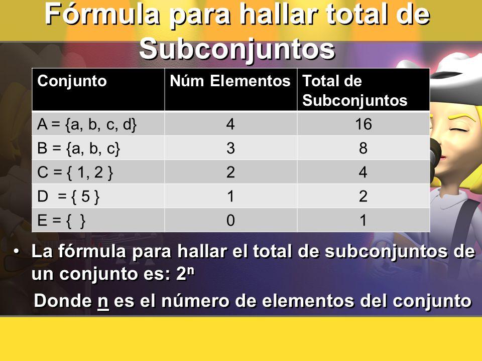 Fórmula para hallar total de Subconjuntos La fórmula para hallar el total de subconjuntos de un conjunto es: 2 n Donde n es el número de elementos del
