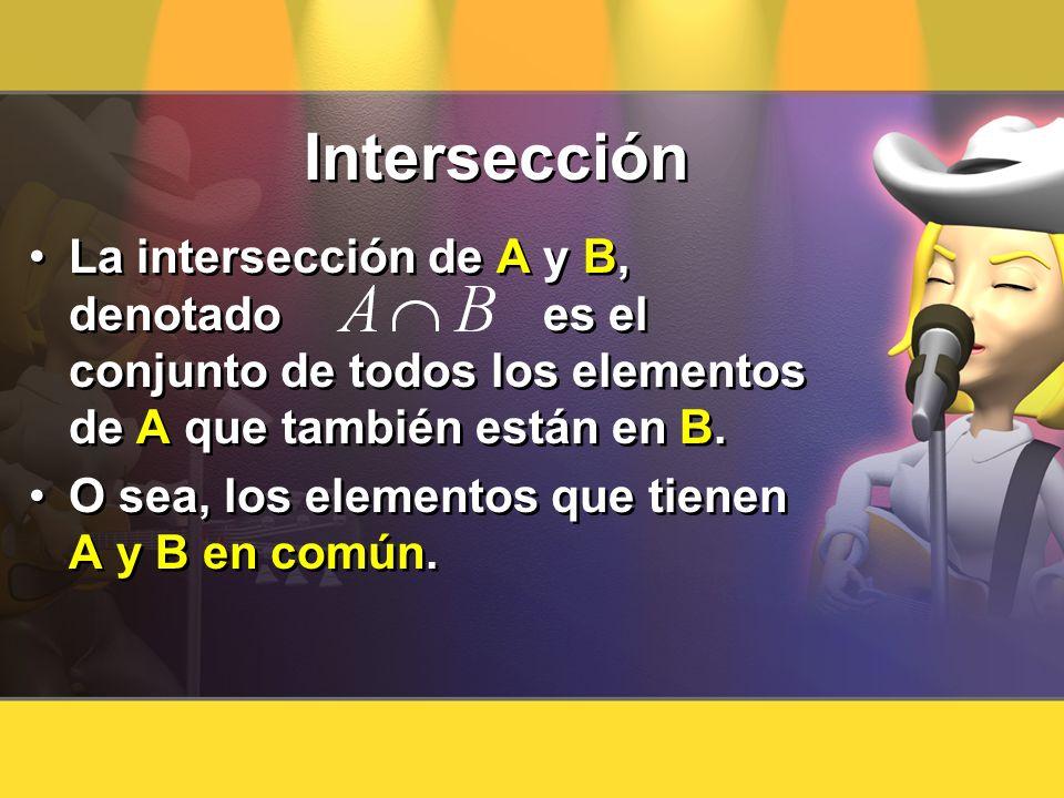 Intersección La intersección de A y B, denotado es el conjunto de todos los elementos de A que también están en B. O sea, los elementos que tienen A y