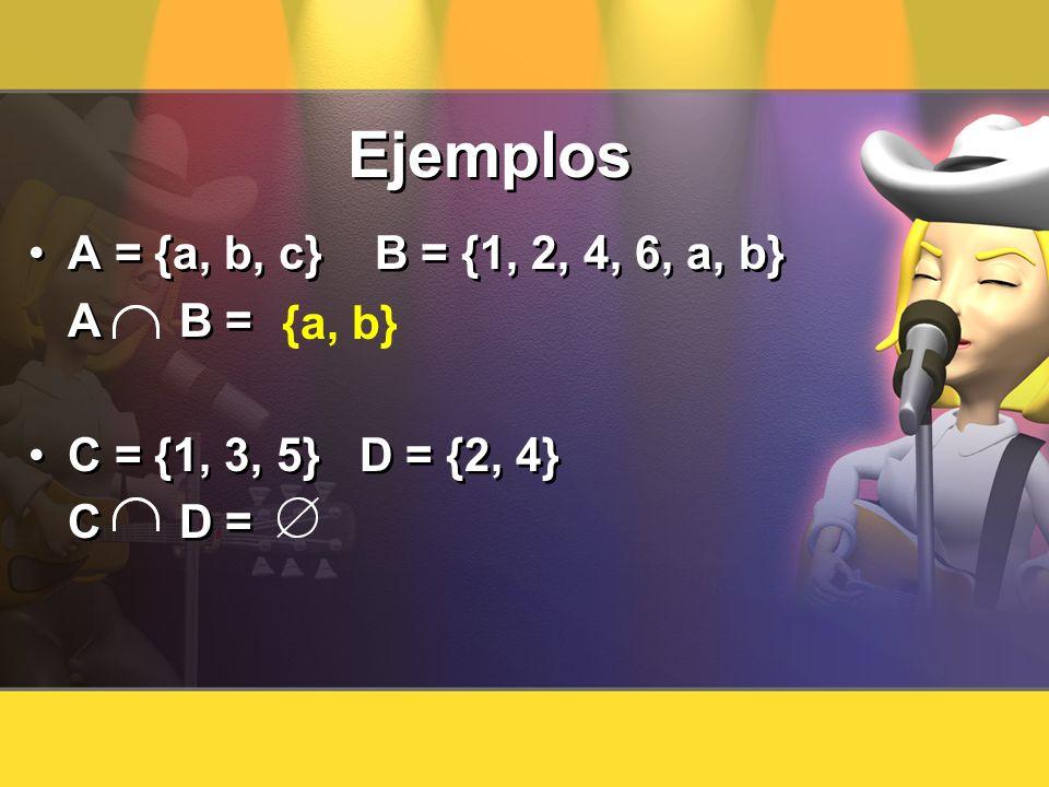 Ejemplos A = {a, b, c} B = {1, 2, 4, 6, a, b} A B = C = {1, 3, 5} D = {2, 4} C D = A = {a, b, c} B = {1, 2, 4, 6, a, b} A B = C = {1, 3, 5} D = {2, 4}