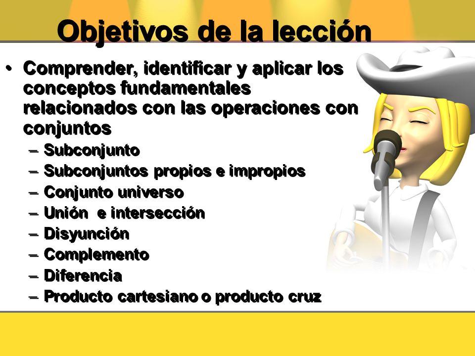 Objetivos de la lección Comprender, identificar y aplicar los conceptos fundamentales relacionados con las operaciones con conjuntos –Subconjunto –Sub