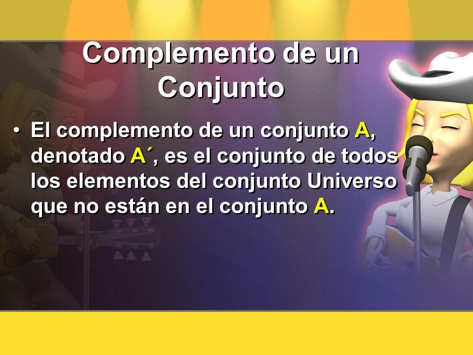 Complemento de un Conjunto El complemento de un conjunto A, denotado A´, es el conjunto de todos los elementos del conjunto Universo que no están en e