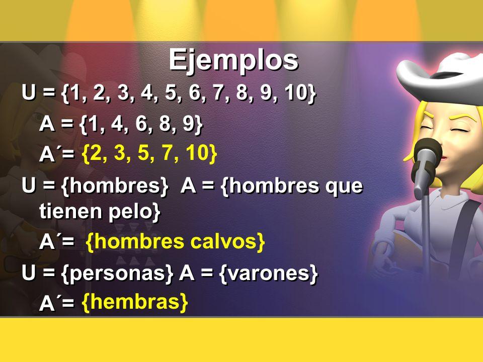 Ejemplos U = {1, 2, 3, 4, 5, 6, 7, 8, 9, 10} A = {1, 4, 6, 8, 9} A´= U = {hombres} A = {hombres que tienen pelo} A´= U = {personas} A = {varones} A´=