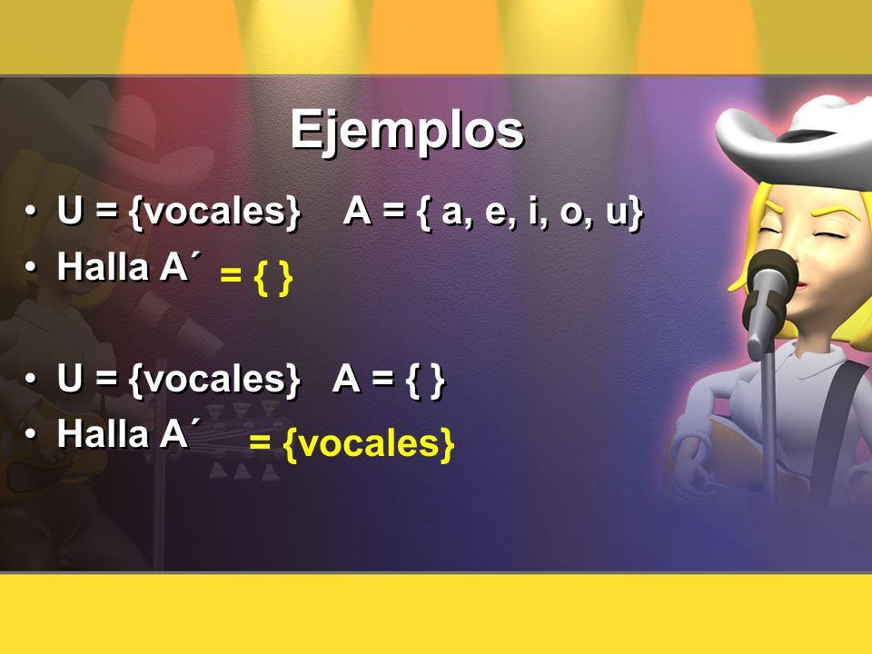 Ejemplos U = {vocales} A = { a, e, i, o, u} Halla A´ U = {vocales} A = { } Halla A´ U = {vocales} A = { a, e, i, o, u} Halla A´ U = {vocales} A = { }
