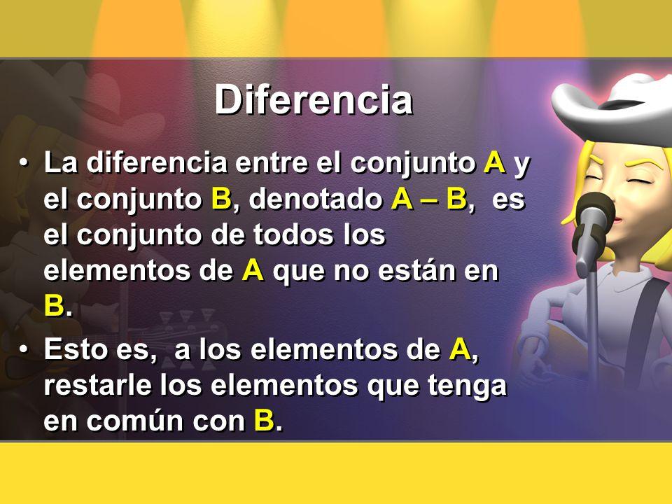 Diferencia La diferencia entre el conjunto A y el conjunto B, denotado A – B, es el conjunto de todos los elementos de A que no están en B. Esto es, a