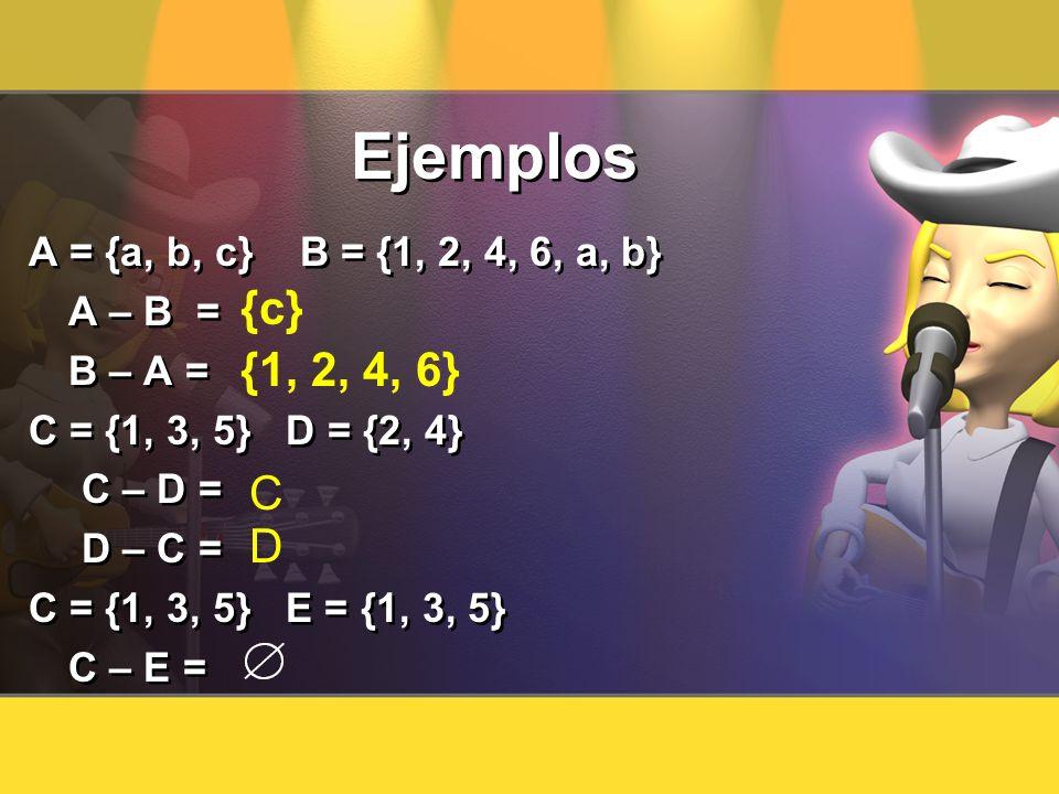 Ejemplos A = {a, b, c} B = {1, 2, 4, 6, a, b} A – B = B – A = C = {1, 3, 5} D = {2, 4} C – D = D – C = C = {1, 3, 5} E = {1, 3, 5} C – E = A = {a, b,