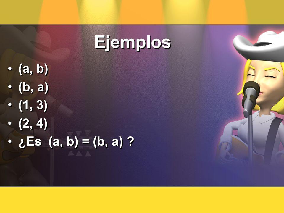Ejemplos (a, b) (b, a) (1, 3) (2, 4) ¿Es (a, b) = (b, a) ? (a, b) (b, a) (1, 3) (2, 4) ¿Es (a, b) = (b, a) ?