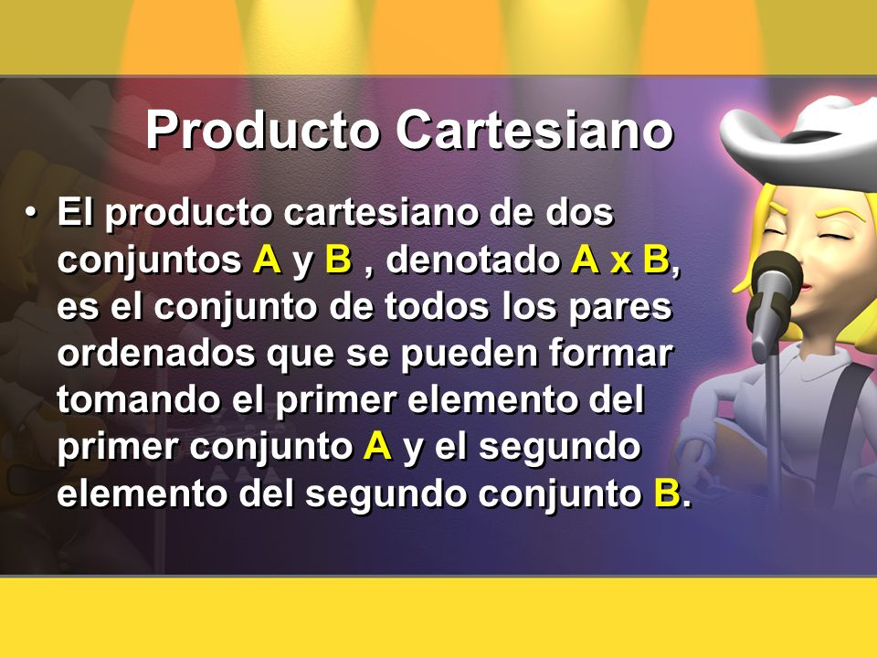 Producto Cartesiano El producto cartesiano de dos conjuntos A y B, denotado A x B, es el conjunto de todos los pares ordenados que se pueden formar to