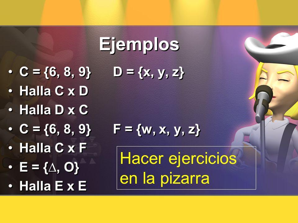 Ejemplos C = {6, 8, 9} D = {x, y, z} Halla C x D Halla D x C C = {6, 8, 9} F = {w, x, y, z} Halla C x F E = {, O} Halla E x E C = {6, 8, 9} D = {x, y,