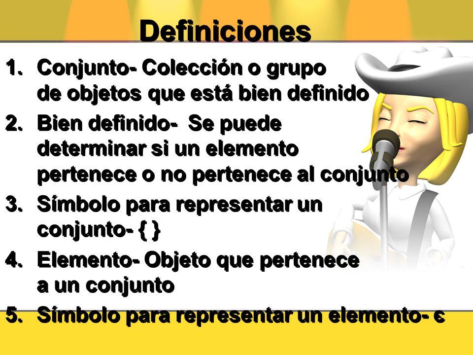 Definiciones 1.Conjunto- Colección o grupo de objetos que está bien definido 2.Bien definido- Se puede determinar si un elemento pertenece o no perten