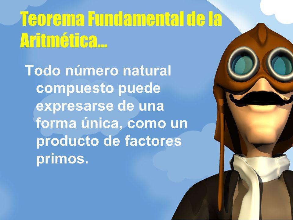 Todo número natural compuesto puede expresarse de una forma única, como un producto de factores primos. Teorema Fundamental de la Aritmética...