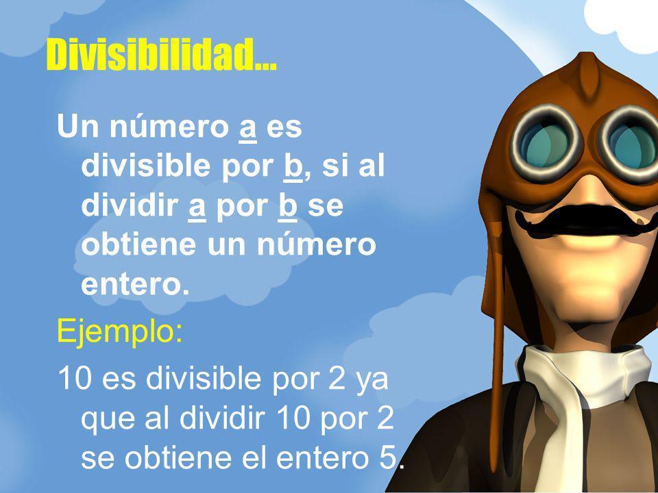 Un número a es divisible por b, si al dividir a por b se obtiene un número entero. Ejemplo: 10 es divisible por 2 ya que al dividir 10 por 2 se obtien