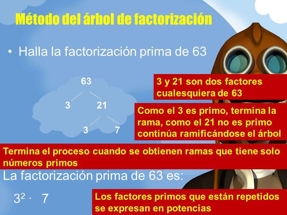 Método del árbol de factorización Halla la factorización prima de 63 3 21 63 3 7 La factorización prima de 63 es: 3 2. 7 3 y 21 son dos factores cuale