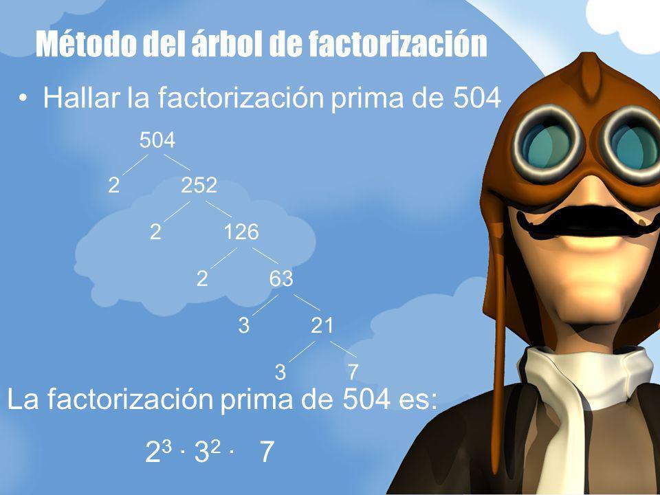 Método del árbol de factorización Hallar la factorización prima de 504 2 252 504 2 126 2 63 3 21 3 7 La factorización prima de 504 es: 2 3. 3 2. 7