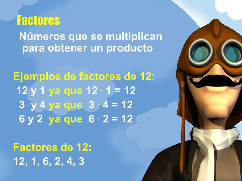 Números que se multiplican para obtener un producto Ejemplos de factores de 12: 12 y 1 ya que 12. 1 = 12 3 y 4 ya que 3. 4 = 12 6 y 2 ya que 6. 2 = 12