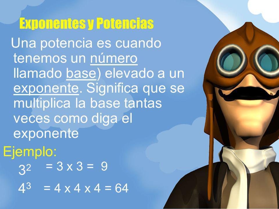 Una potencia es cuando tenemos un número llamado base) elevado a un exponente. Significa que se multiplica la base tantas veces como diga el exponente