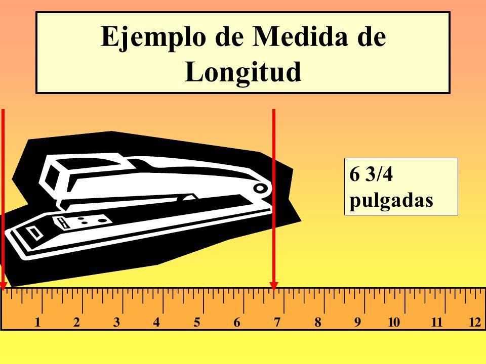 Equivalencias de Unidades de Longitud 12 pulg = 1 pie 3 pies = 1 yd 36 pulg = 1 yd 5,280 pies = 1 mi