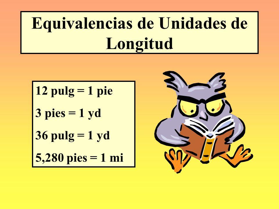 Unidades de Peso o Masa Inglés a MétricoMétrico a Inglés 1 oz = 28.35 g1 g = 0.035 oz 1 lb = 0.454 kg1 kg = 2.2 lb