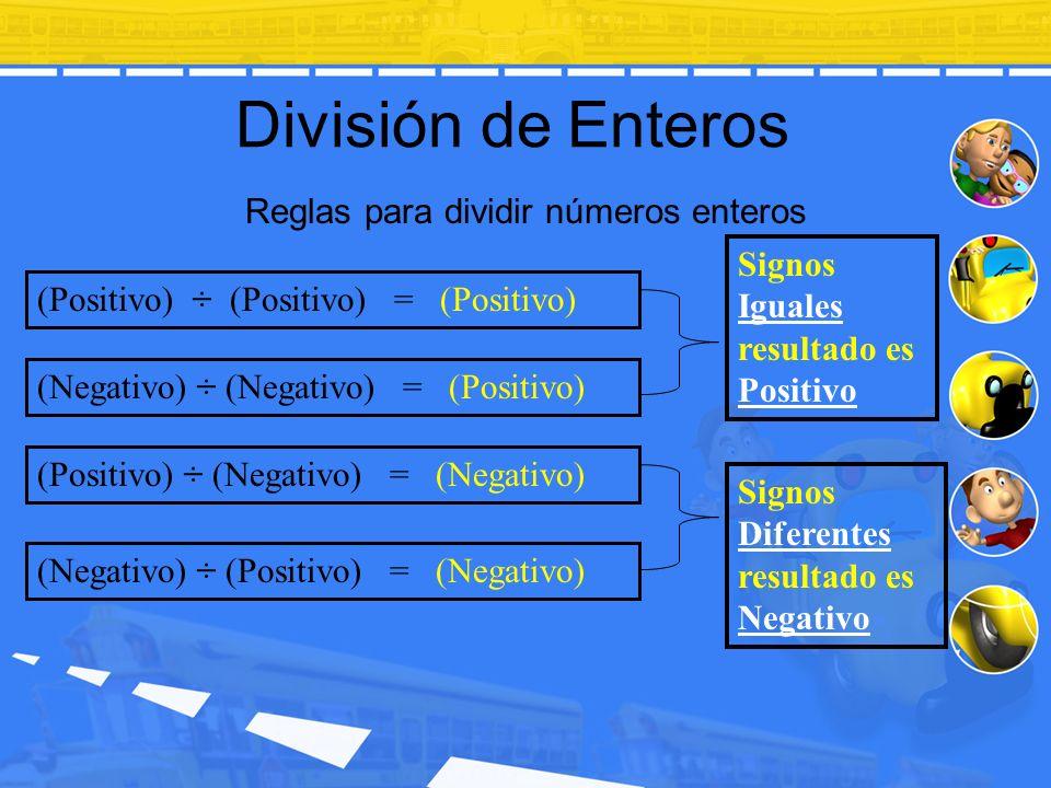 División de Enteros Reglas para dividir números enteros (Positivo) ÷ (Positivo) = (Positivo) (Negativo) ÷ (Negativo) = (Positivo) (Positivo) ÷ (Negati