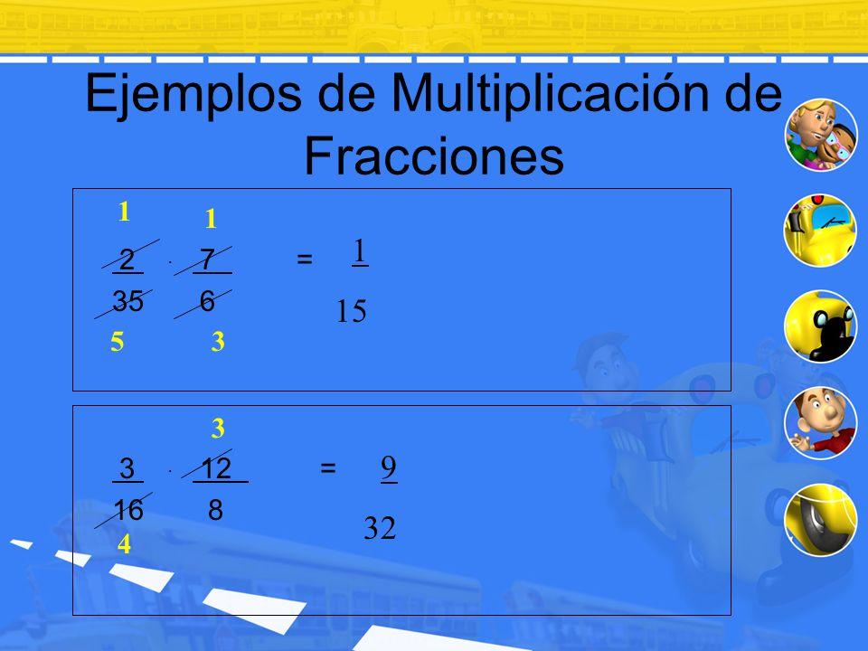 Ejemplos de Multiplicación de Fracciones 2. 7 = 35 6 3. 12 = 16 8 1 3 1 5 1 15 3 4 9 32