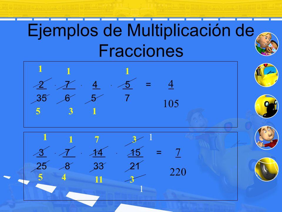 Ejemplos de Multiplicación de Fracciones 2. 7. 4. 5 = 35 6 5 7 3. 7. 14. 15 = 25 8 33 21 1 3 1 5 1 1 4 105 1 11 1 3 3 54 7 1 1 7 220