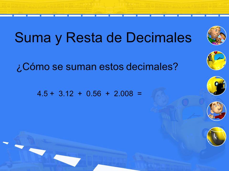 Suma y Resta de Decimales ¿Cómo se suman estos decimales? 4.5 + 3.12 + 0.56 + 2.008 =