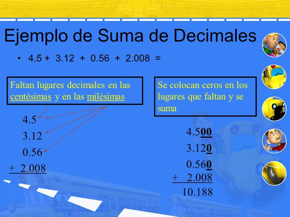 Ejemplo de Suma de Decimales 4.5 + 3.12 + 0.56 + 2.008 = Faltan lugares decimales en las centésimas y en las milésimas 4.500 3.120 0.560 + 2.008 Se co