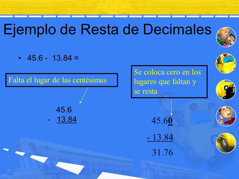 Ejemplo de Resta de Decimales 45.6 - 13.84 = 45.60 - 13.84 Se coloca cero en los lugares que faltan y se resta Falta el lugar de las centésimas 31.76