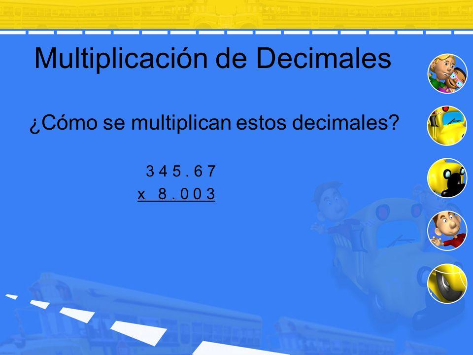 Multiplicación de Decimales ¿Cómo se multiplican estos decimales? 3 4 5. 6 7 x 8. 0 0 3