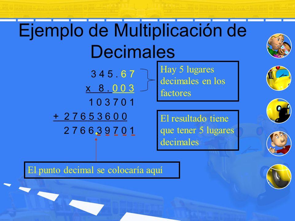 Ejemplo de Multiplicación de Decimales 3 4 5. 6 7 x 8. 0 0 3 1 0 3 7 0 1 + 2 7 6 5 3 6 0 0 2 7 6 6 3 9 7 0 1. Hay 5 lugares decimales en los factores