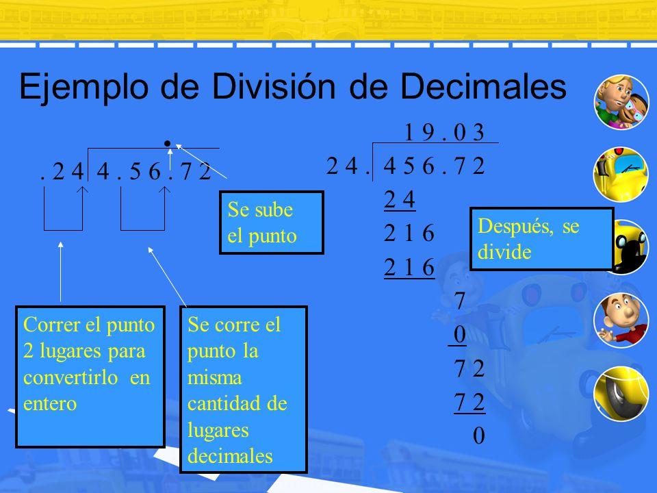 Ejemplo de División de Decimales Después, se divide. 2 4 4. 5 6. 7 2 1 9. 0 3 2 4. 4 5 6. 7 2 2 4 2 1 6 7 0 7 2 0 Se sube el punto Correr el punto 2 l