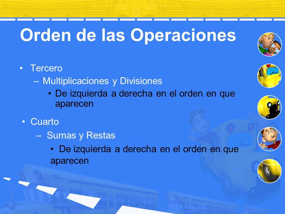 Orden de las Operaciones Tercero –Multiplicaciones y Divisiones De izquierda a derecha en el orden en que aparecen Cuarto – Sumas y Restas De izquierd