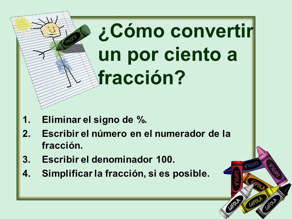 ¿Cómo convertir un por ciento a fracción? 1.Eliminar el signo de %. 2.Escribir el número en el numerador de la fracción. 3.Escribir el denominador 100