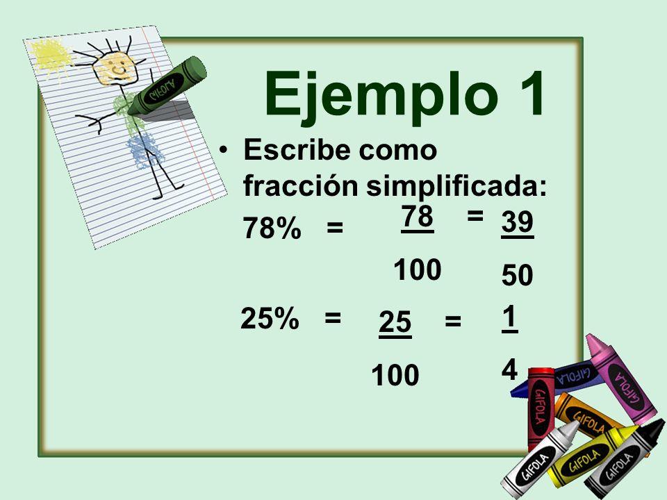 Ejemplo 1 Escribe como fracción simplificada: 78% = 39 50 1414 25% = 78 = 100 25 = 100