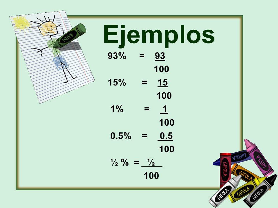 Ejemplos 93% = 93 100 15% = 15 100 1% = 1 100 0.5% = 0.5 100 ½ % = ½ 100