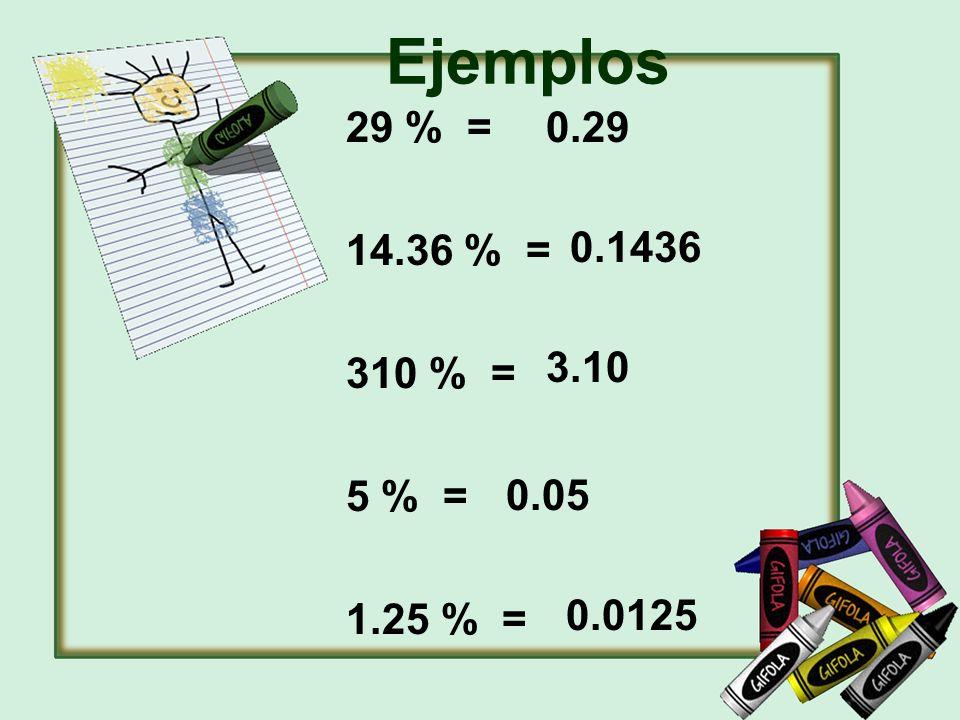 29 % = 14.36 % = 310 % = 5 % = 1.25 % = 0.29 0.1436 3.10 0.05 0.0125 Ejemplos