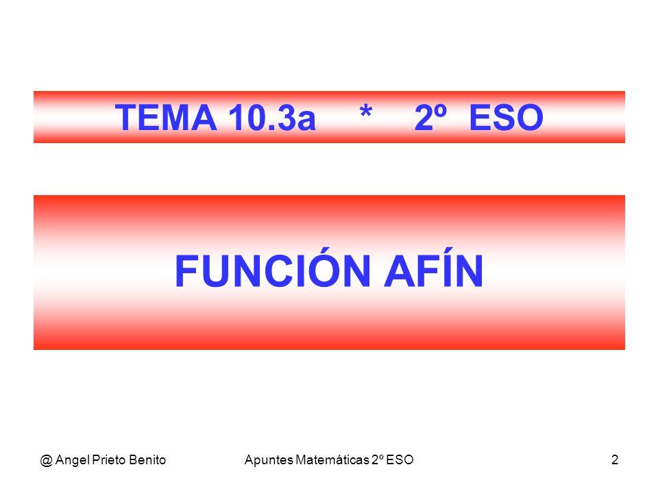 @ Angel Prieto BenitoApuntes Matemáticas 2º ESO2 FUNCIÓN AFÍN TEMA 10.3a * 2º ESO
