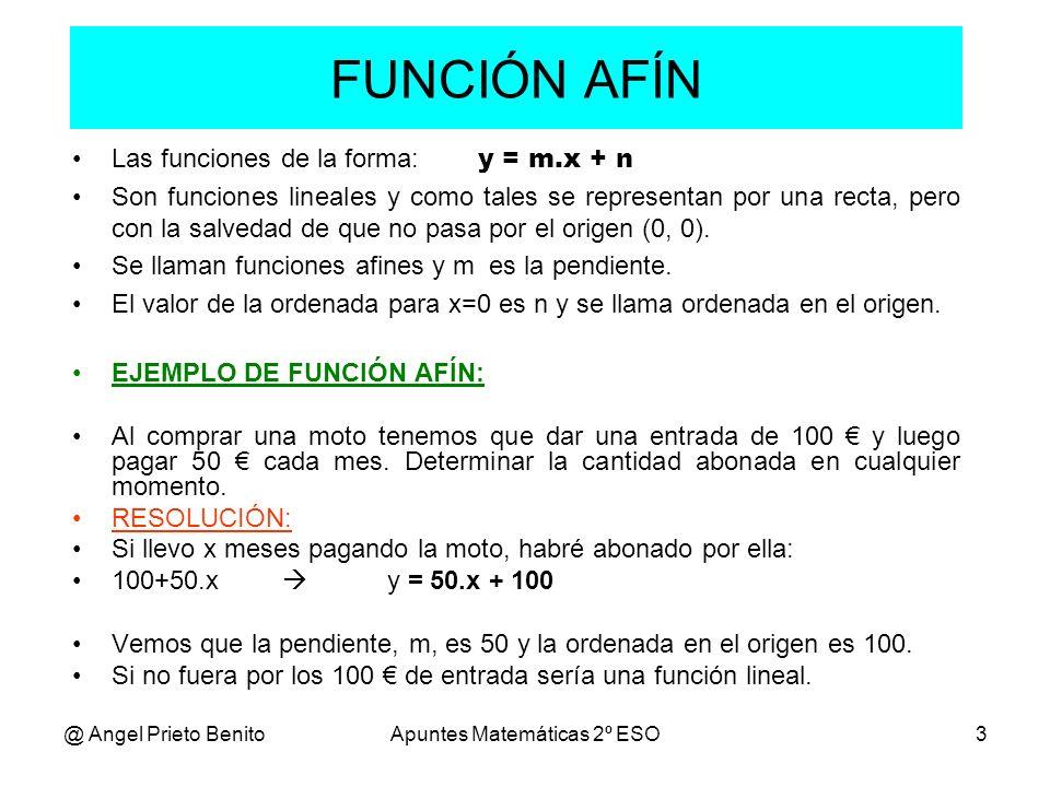 @ Angel Prieto BenitoApuntes Matemáticas 2º ESO3 FUNCIÓN AFÍN Las funciones de la forma: y = m.x + n Son funciones lineales y como tales se representa