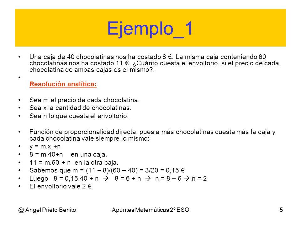 @ Angel Prieto BenitoApuntes Matemáticas 2º ESO5 Ejemplo_1 Una caja de 40 chocolatinas nos ha costado 8. La misma caja conteniendo 60 chocolatinas nos