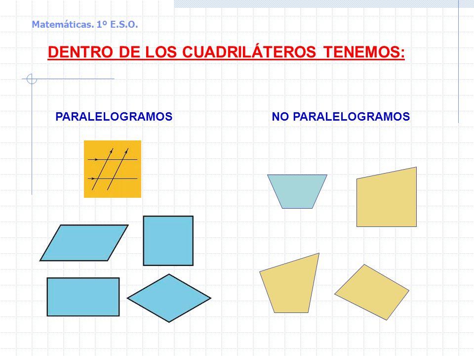 Matemáticas. 1º E.S.O. Los cuadriláteros: clasificación Cuadriláteros son los polígonos que tienen cuatro lados Cuadrilátero convexo Cuadrilátero cónc