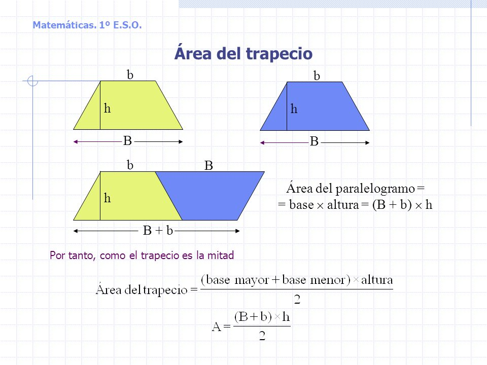 Matemáticas. 1º E.S.O. Área del triángulo D A B C b h El área del paralelogramo ABCD es, como sabemos Área = base altura A = b h Por tanto, como el tr