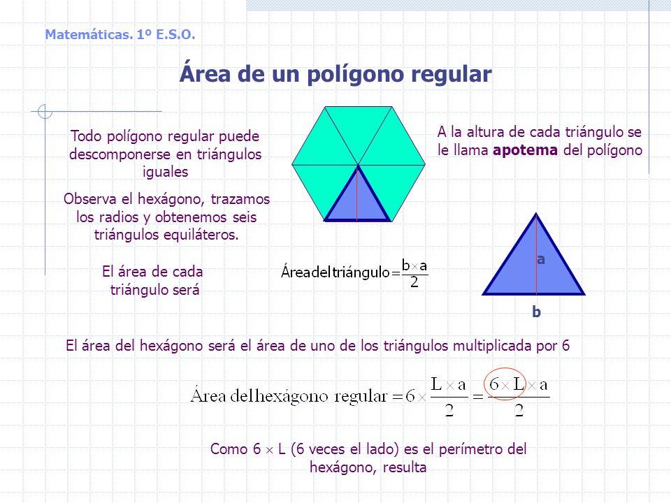 Matemáticas. 1º E.S.O. Área del trapecio b B h b B h b h B B + b Área del paralelogramo = = base altura = (B + b) h Por tanto, como el trapecio es la