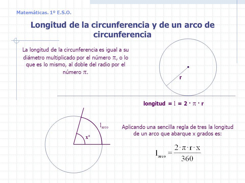 Longitud de la circunferencia y de un arco de circunferencia La longitud de la circunferencia es igual a su diámetro multiplicado por el número, o lo que es lo mismo, al doble del radio por el número.